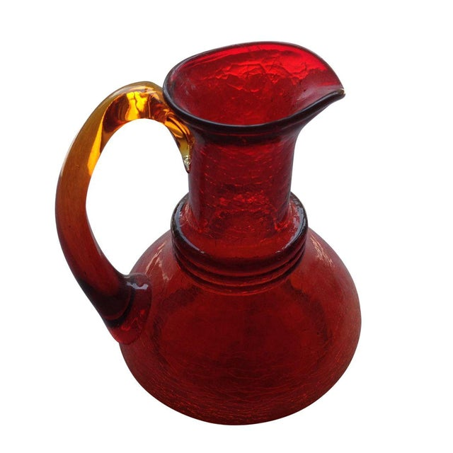 pitcher glass pilgrim crackle amberina chairish orange