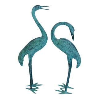 1940s Era Large Bronze Egrets - A Pair