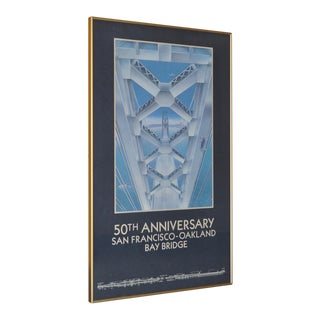 San Francisco Oakland Bay Bridge 50th Anniversary Poster 1986