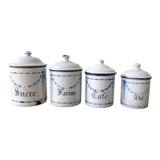French 19th Century Enameled Tinware Cans