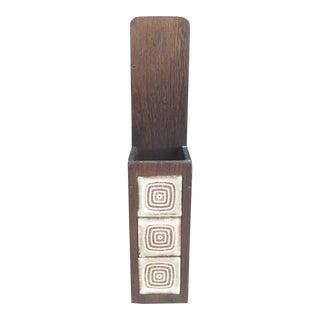 Mid CenturyWood and Ceramic Tile Fireplace Match Holder