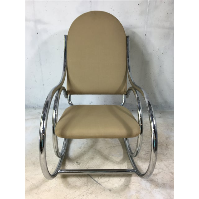Modern Chrome Rocker In The Style of Michael Thonet - Image 4 of 4