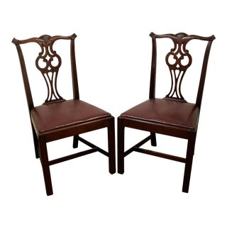 Pair of Hickory Chair Co. Chippendale Mahogany Dining Chairs #2