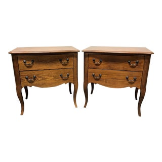 Drexel Heritage European Theme Welsh Pine Finish French Nightstands - a Pair