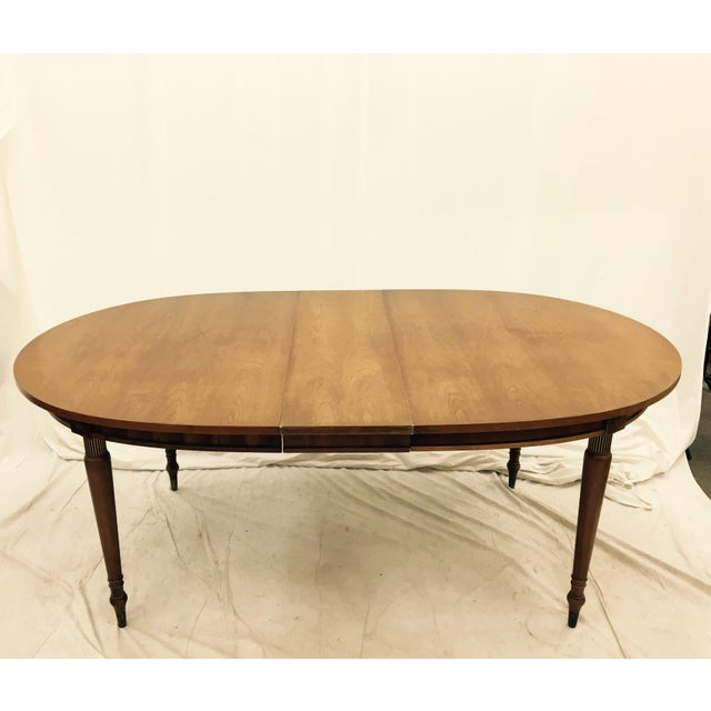 Vintage wooden dining table with leaf chairish for Dining table with leaf insert