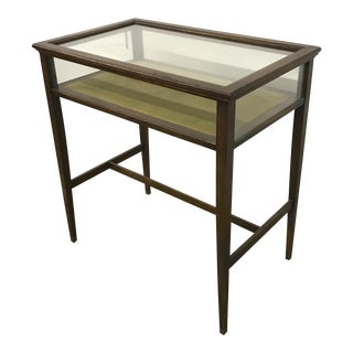 Glass Display Box Table with Chartreuse Velvet
