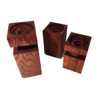 Mid-Century Wood Block Candleholders - Set of 3