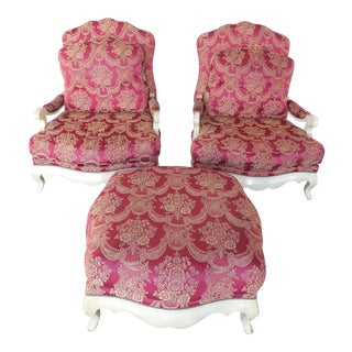 French Bergere Style Arm Chairs & Ottoman - A Pair