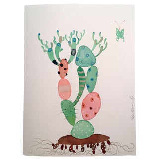 """Picasso Cactus"" Watercolor Painting"