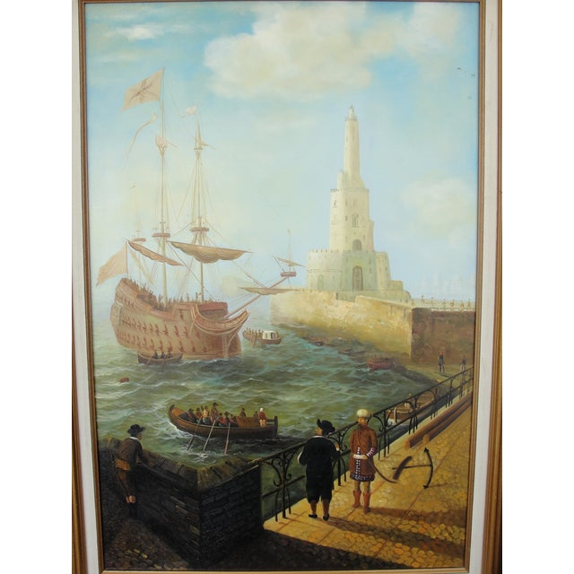 """Image of """"Merchant Ship in Port"""" Painting"""