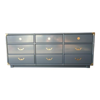 Hollywood Regency Newly Lacquered Drexel Dresser with Polished Brass Hardware