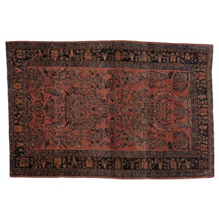 "Antique Persian Sarouk Rug - 4'6"" x 6'8"""