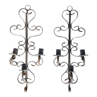 Old Wrought Iron Candle Sconces - Set of 2