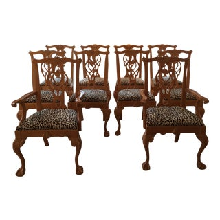 Chippendale Dining Chairs With Ralph Lauren Leopard Fabric - Set of 10