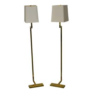 Robert Abbey Brass C Series Floor Lamps - A Pair