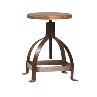 Iron & Wood Adjustable Stool