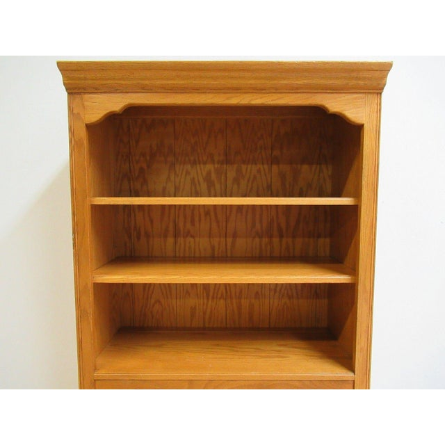 Ethan Allen Chippendale Canterbury Oak Dresser Hutch Top Shelf - Image 5 of 9