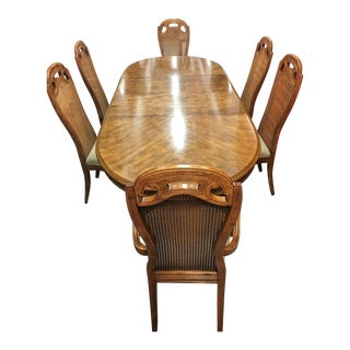 Vintage Cane Dining Set with 6 Chairs & 2 Leaves