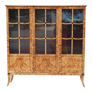 Swedish Biedermeier Revival-Art Deco Flame Birch Vitrine, ca, 1930