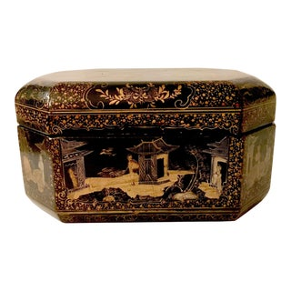 Antique Chinoiserie Papier Mache Box