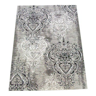 "Damask Gray & White Rug - 5'3"" x 7'7"""