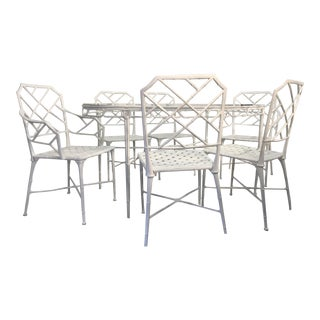 Brown Jordan Faux Bamboo Patio Table & 6 Chairs