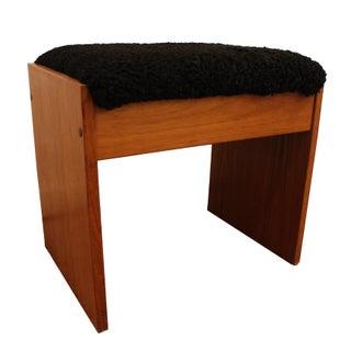 Mid-Century Danish Modern Upholstered Teak Vanity Stool