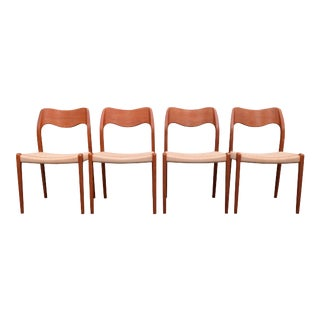 Vintage Danish Modern Teak Moller Chairs Model #71- Set of 4