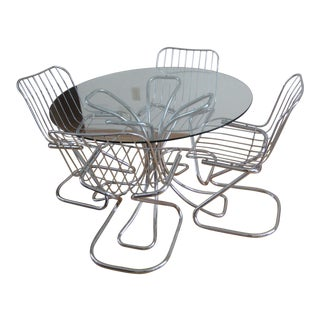 Mid-Century Italian Chrome & Glass Dining Set - Set of 5