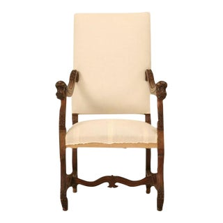 Circa 1880 French Walnut Os De Mouton Throne Chair