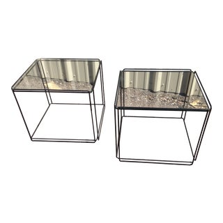 Max Sauze Glass Iron End Tables - A Pair