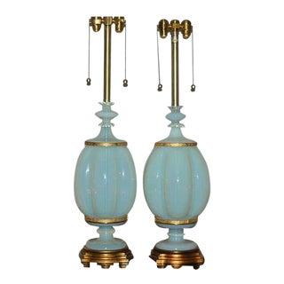 Marbro Asian Style Opaline Murano Lamps