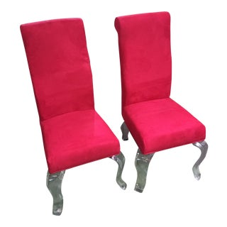 Fuschia Red Sueded Occasional Chairs - Pair