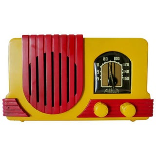 """Addison Model Two """"Waterfall"""" Red and Mustard Catalin Tube Radio"""