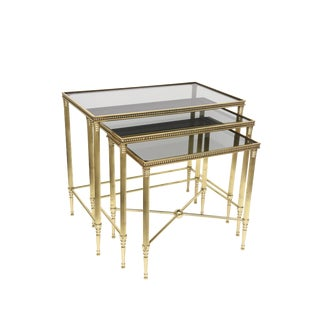 Set of 3 Italian Mid Century Polished Brass and Glass Nesting Tables