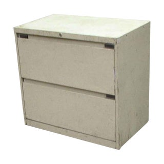 Cream Worn Metal Lateral File Cabinet