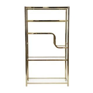 Milo Baughman Attributed Brass Etagere With Glass Shelves