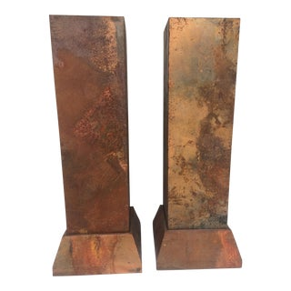 Faux Copper Finish Pedestals