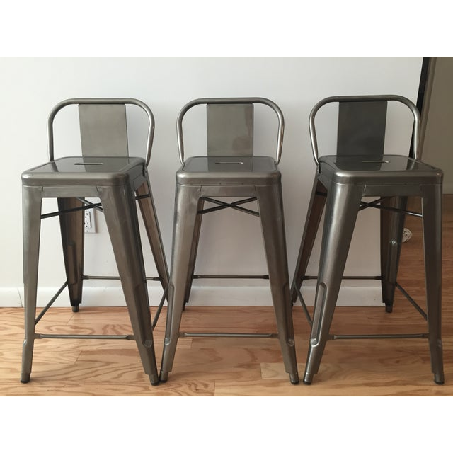 Image of Tolix-Inspired Industry West Metal Counter Stools - Set of 3