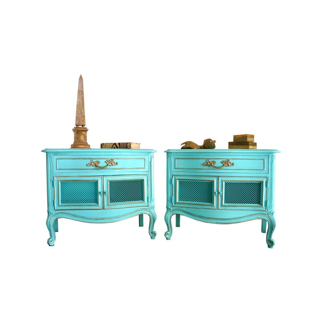 French Style Turquoise Nightstands - Pair - Image 2 of 10