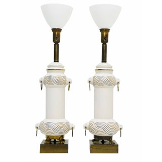 Lion Head Ceramic Torchiere Table Lamps - Pair