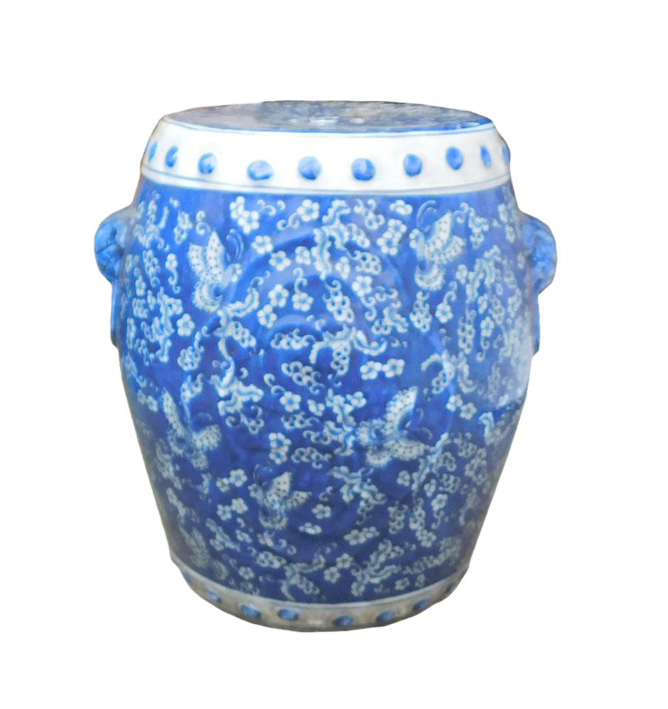 Chinese Blue White Porcelain Butterflies Stool