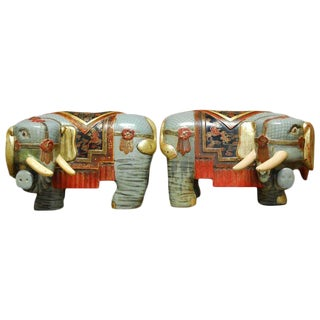 Chinese Carved Polychrome Elephant Stools - A Pair