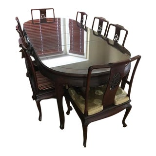 Asian Rosewood Dining Table and Chairs