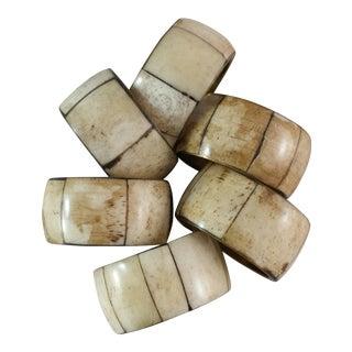 Brass & Bone Inlay Napkin Rings - Set of 6