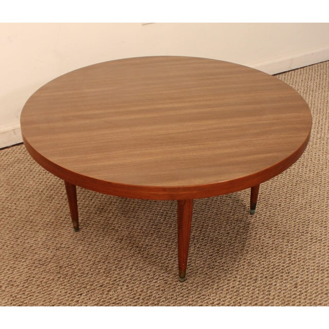 Danish Mid-Century Modern Walnut Atomic Round Cocktail
