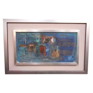 Vintage Modernist Abstract Oil Painting