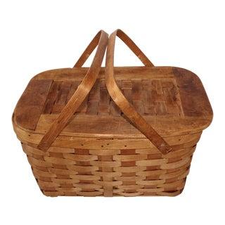 Vintage Woven Oak Picnic Basket