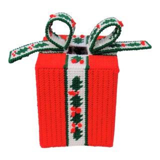 Vintage Handmade Needlepoint Holiday Tissue Box Cover