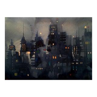Premium giclee print of cityscape dark streets